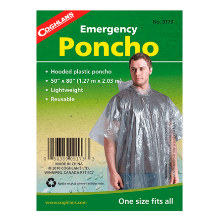 Coghlans Emergency Poncho Clear